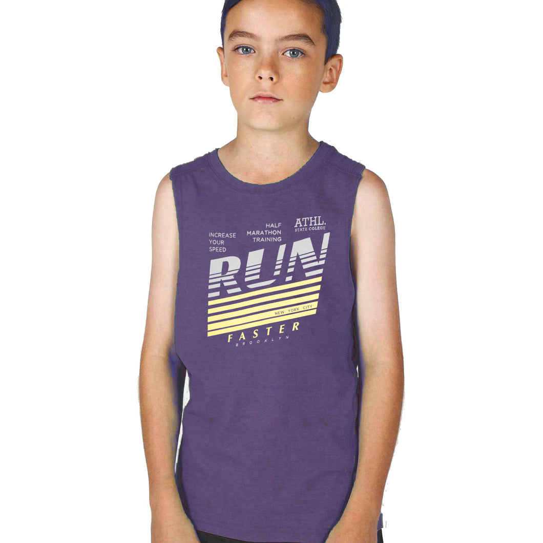 BOY'S SET (MUSCLE TEE & SHORT)-INDIGO/GRAY-SSSS20KB-1302 - Export Mall Online Store Sale