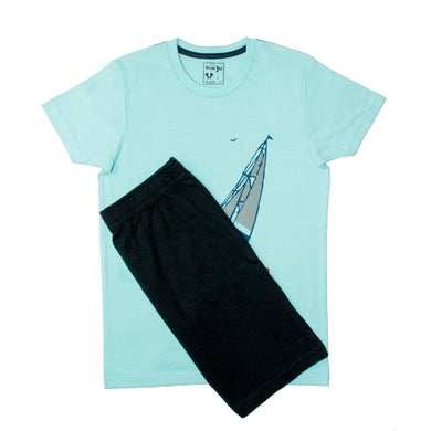 BOY'S SET (S/S GRAPHIC TEE & SHORT)-Turquoise/Black-SSSS20KB-1168 - Export Mall Online Store Sale