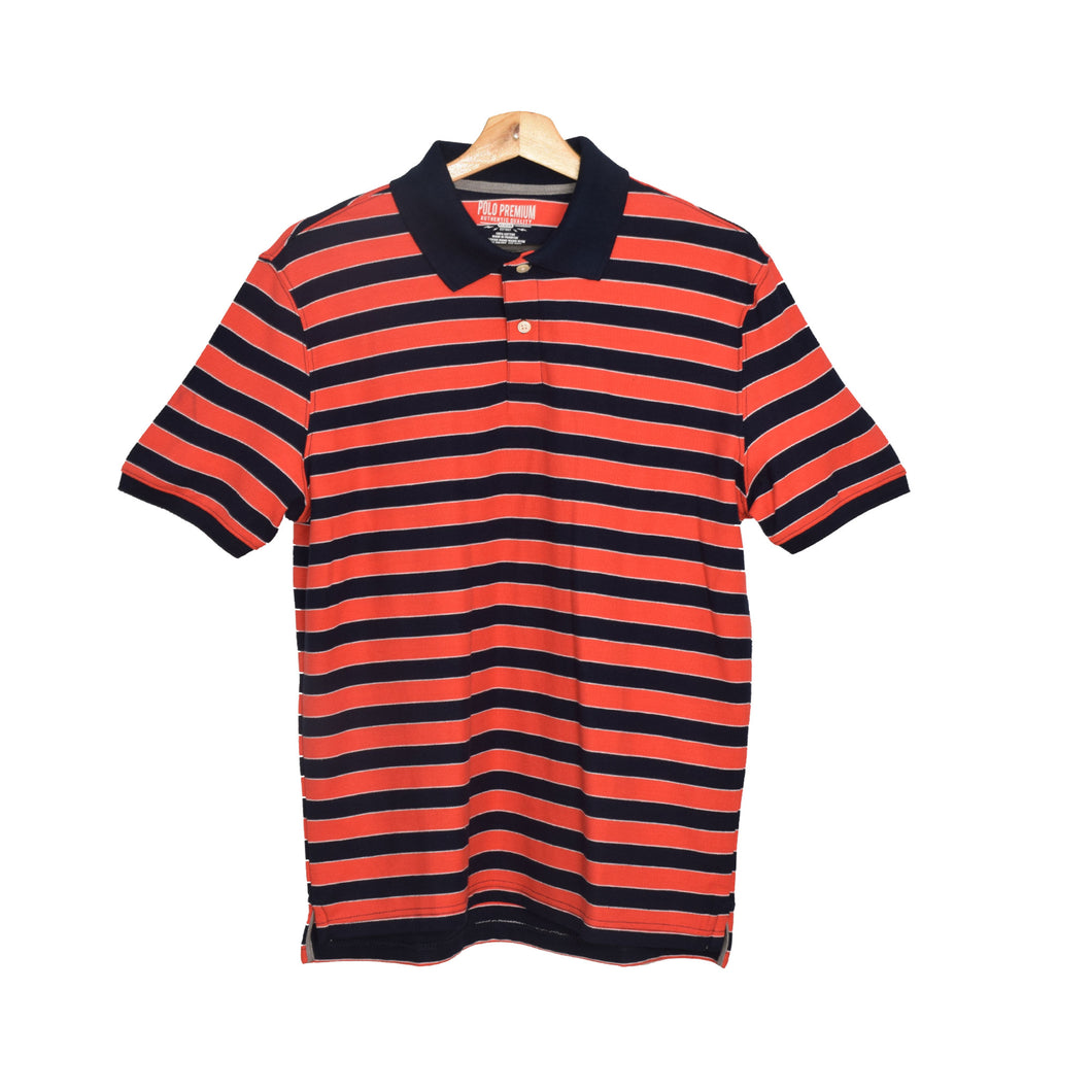 MEN'S S/S RED NAVY STRIPE POLO-3735 - Export Mall Online Store Sale