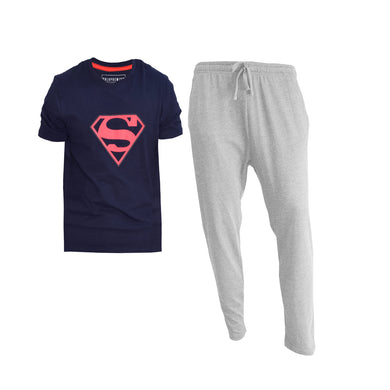 MEN'S SET SUPERMAN (S/S TEE & TROUSER)-NAVY/GREY-EMFW4KM-1073 - Export Mall Online Store Sale
