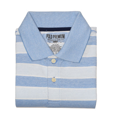 MEN'S S/S BLUE SKY BLUE STRIPE POLO-3733 - Export Mall Online Store Sale