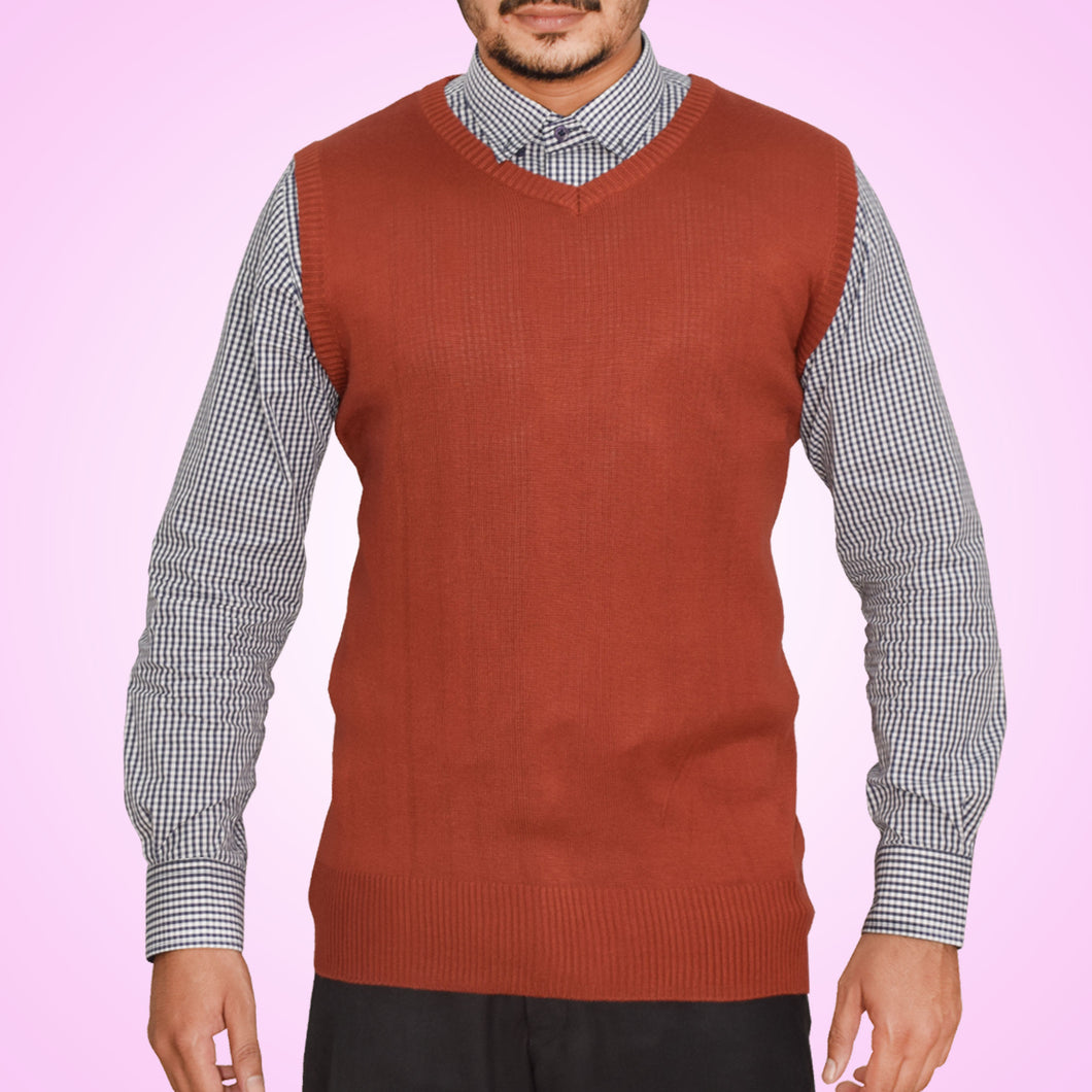 MEN'S SLEEVELESS SWEATER-MAROON-SSFW20KM-1055 - Export Mall Online Store Sale