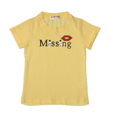 GIRL'S PRINTED TEE-YELLOW/MISSING-GPTEE01 - Export Mall Online Store Sale