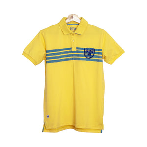 MEN'S S/S YALLOW BLUE EMB POLO -3708 - Export Mall Online Store Sale