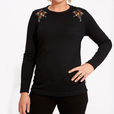 WOMEN'S L/S GRAPHIC TEE-BLACK-EMFW20KW-2003 - Export Mall Online Store Sale