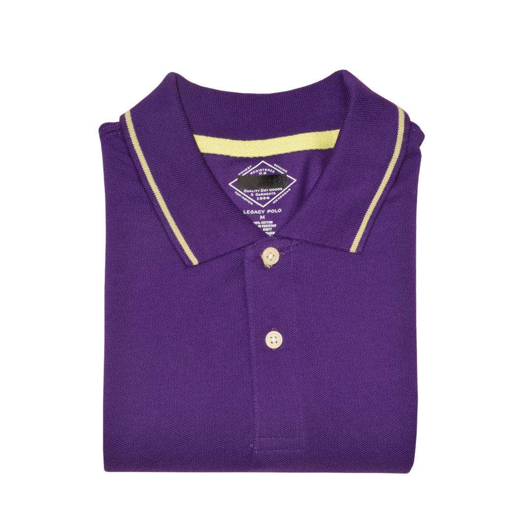 MEN'S S/S PURPLE TIPPING POLO-3707 - Export Mall Online Store Sale