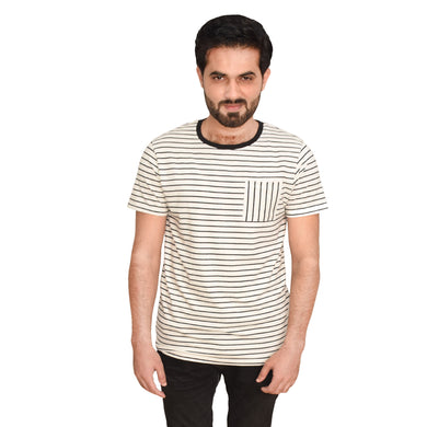 MEN'S S/S GRAPHIC TEE-Oatmeal/Navy-EMFW20KM-1008 - Export Mall Online Store Sale