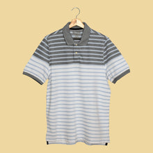 Load image into Gallery viewer, MEN'S S/S WHITE SKY BLUE STRIPE POLO-3729 -16 - Export Mall Online Store Sale