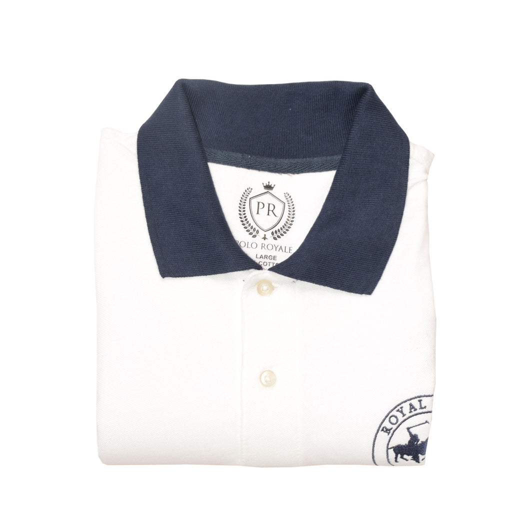 MEN'S S/S WHITE ROYAL PALM POLO -3703 - Export Mall Online Store Sale