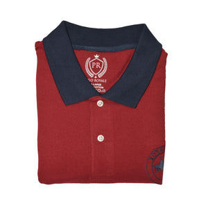 MEN'S S/S MAROON NAVY STRIPE POLO-3701 - Export Mall Online Store Sale
