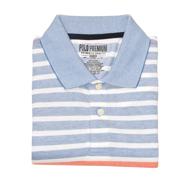 MEN'S S/S ORANGE WHITE BLUE STRIPE POLO-3734&3721 - Export Mall Online Store Sale