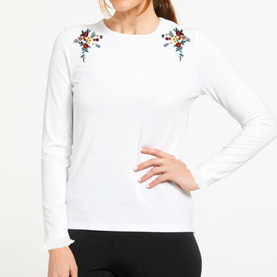 WOMEN'S L/S GRAPHIC TEE-WHITE-EMFW20KW-2003 - Export Mall Online Store Sale