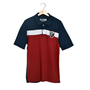 MEN'S S/S NAVY WHITE RED POLO-3718 - Export Mall Online Store Sale