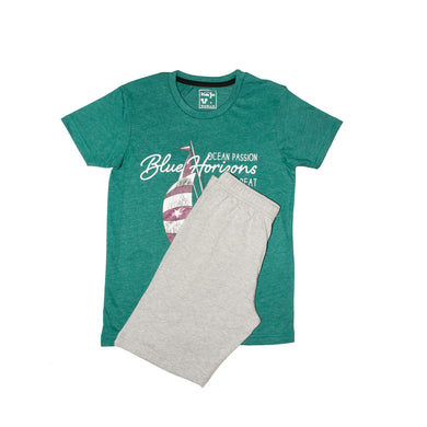 BOY'S SET (S/S GRAPHIC TEE & SHORT)-Zink/Grey-SSSS20KB-1172 - Export Mall Online Store Sale