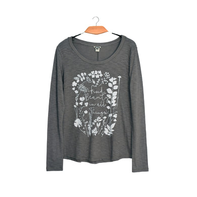 WOMEN'S L/S GRAPHIC TEE-MED GREY-SSFW20KW-2001 - Export Mall Online Store Sale