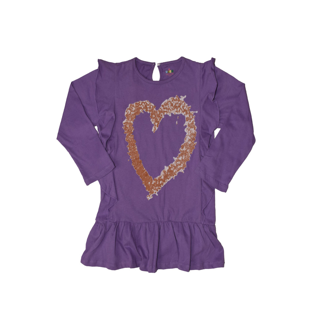 GIRL'S L/S PRINTED TEE-Purple Print -H-18 - Export Mall Online Store Sale