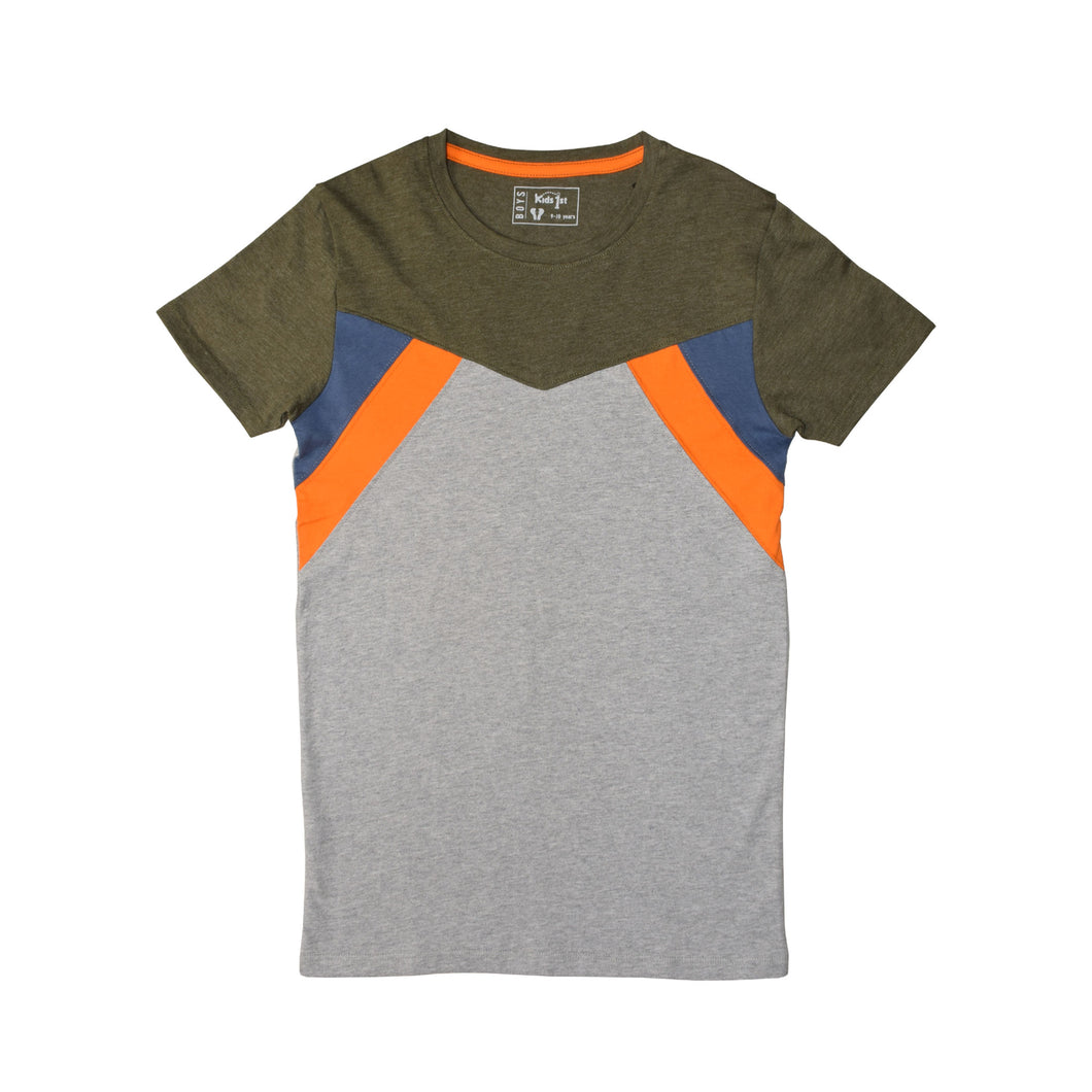BOY'S S/S GRAPHIC TEE-OLIVE/GREY-EMFW20KB-1112 - Export Mall Online Store Sale
