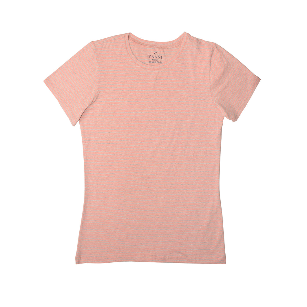 WOMEN'S S/S TEE PEACH GREY- 3607 - Export Mall Online Store Sale