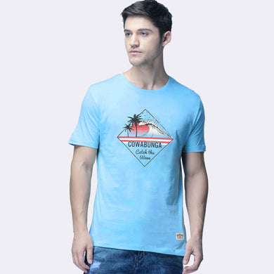MEN'S S/S GRAPHIC TEE-Azure Blue-EMSS20KM-1012 - Export Mall Online Store Sale