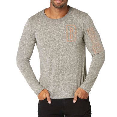 MEN'S L/S GRAPHIC TEE-LIGHT GREY HTR-EMFW20KM-1011 - Export Mall Online Store Sale