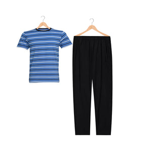 MEN'S S/S TEE & TROUSER SET-BLUE/BLACK-EMFW20KM-1074 - Export Mall Online Store Sale