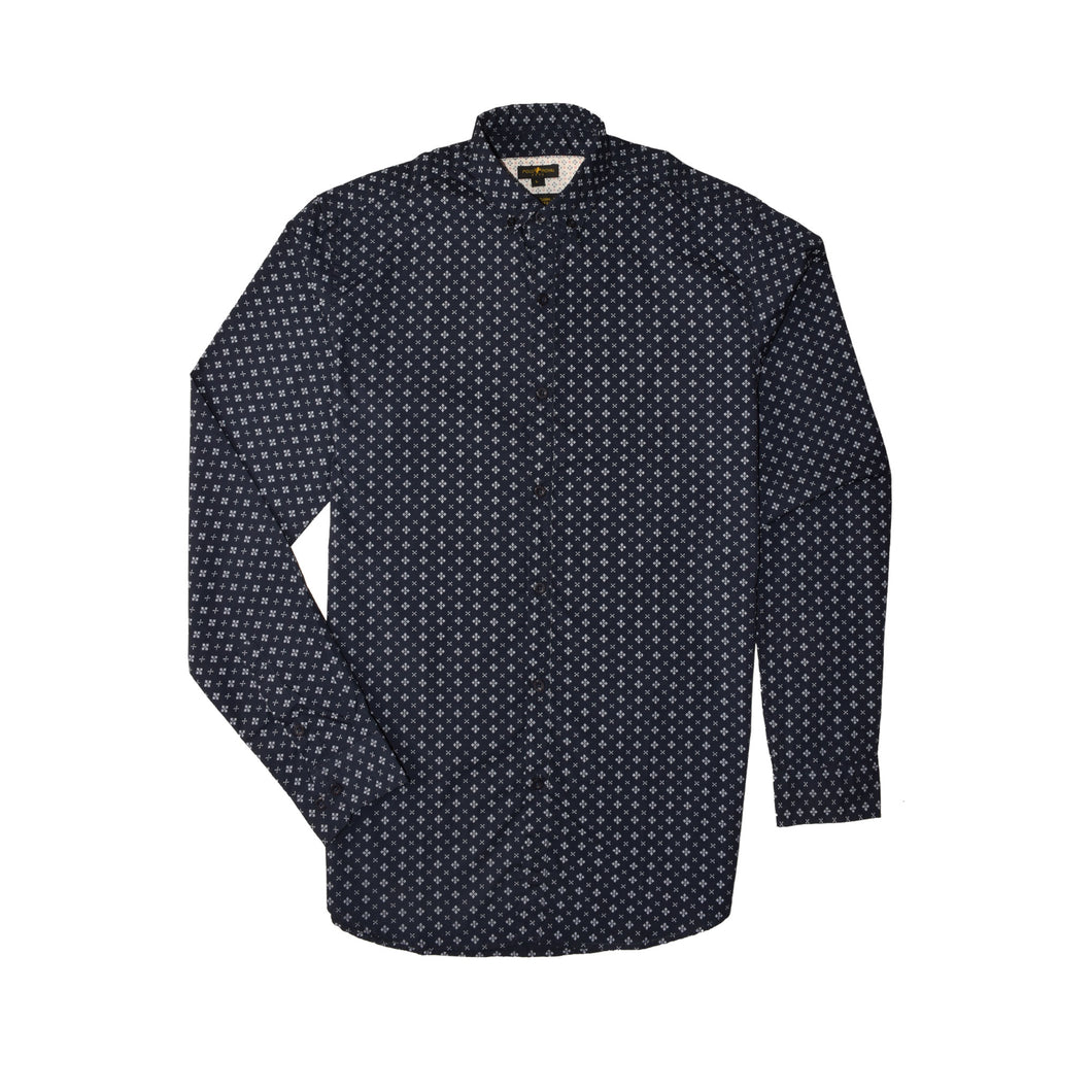 MEN'S WOVEN SHIRT NAVY/PRINT-3814 - Export Mall Online Store Sale