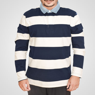 MEN'S L/S POLO-NAVY/WHITE-SSFW20KM-1007 - Export Mall Online Store Sale