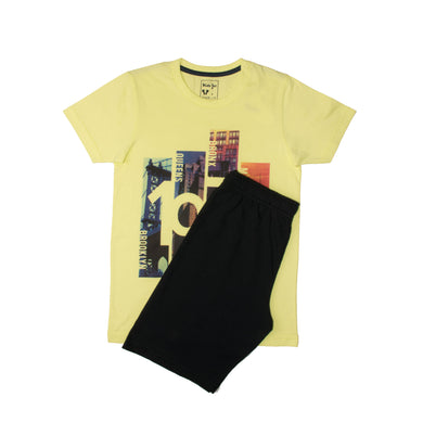 BOY'S SET (S/S GRAPHIC TEE & SHORT)-Yellow/Black-SSSS20KB-1167 - Export Mall Online Store Sale