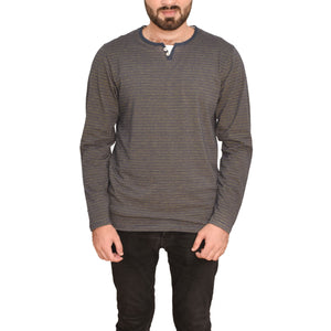 MEN'S L/S HENLY-NAVY/YELLOW-EMFW20KM-1005 - Export Mall Online Store Sale