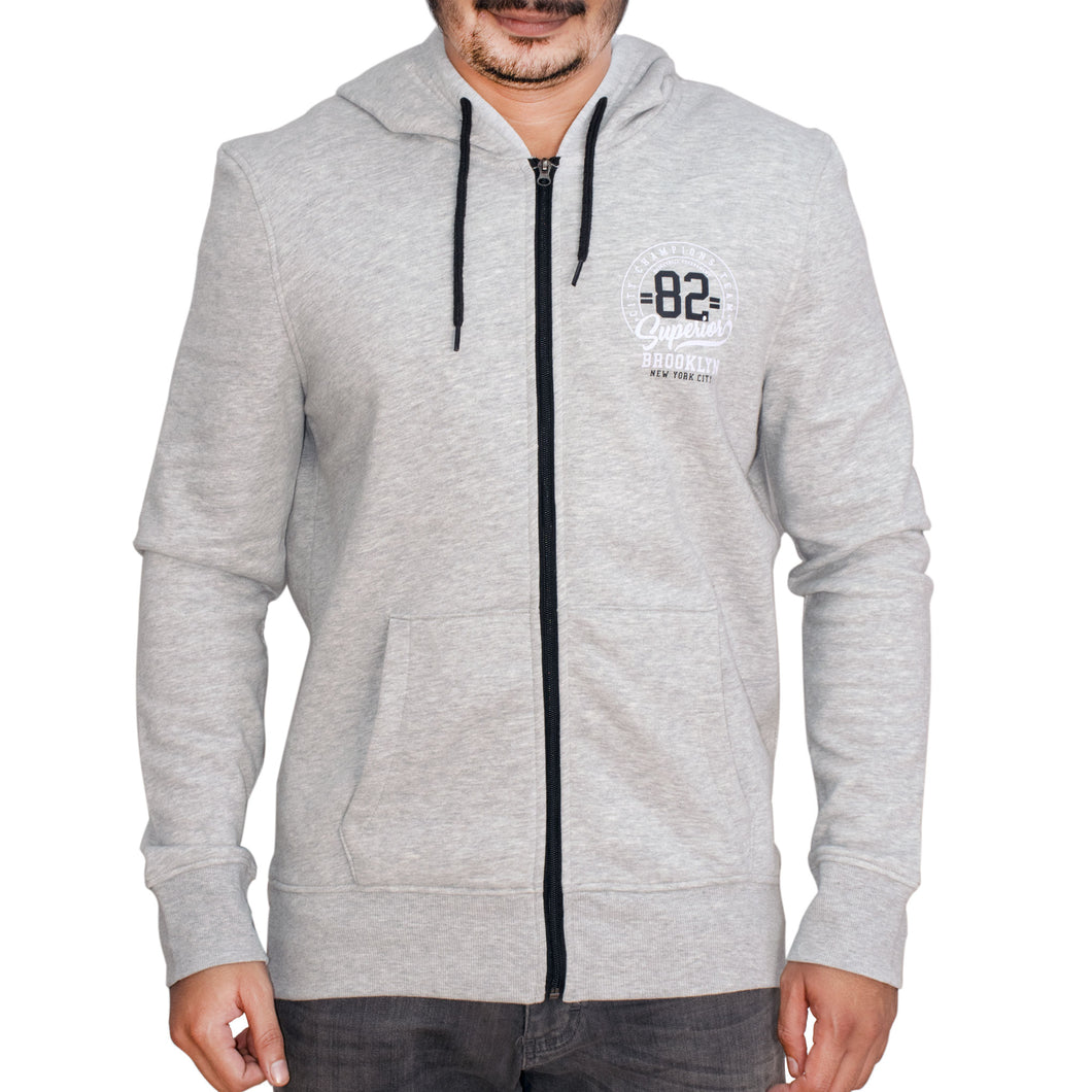 MEN'S ZIPPER HOOD-GREY-SSFW20KM-1009 - Export Mall Online Store Sale