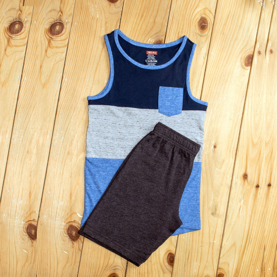 BOY'S MUSCLE TEE & SHORT-GREY STRIPE / BLACK-1188 - Export Mall Online Store Sale