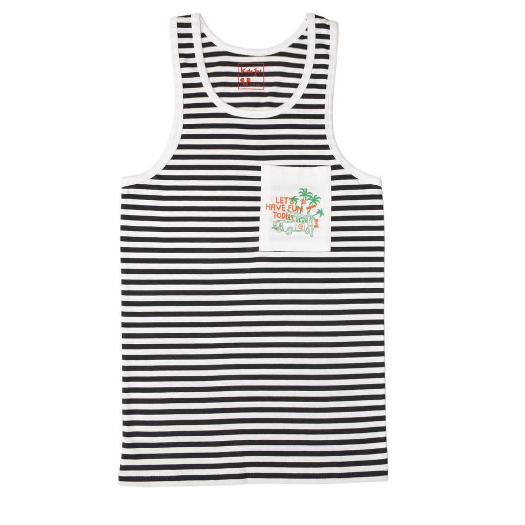 BOY'S S/S GRAPHIC TANK-Black/White-EMSS20KB-1117 - Export Mall Online Store Sale