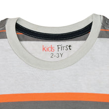 Load image into Gallery viewer, BOY'S S/S TEE-25BS-STK-ASRT01-Light Gray/Orange Stripe - Export Mall Online Store Sale