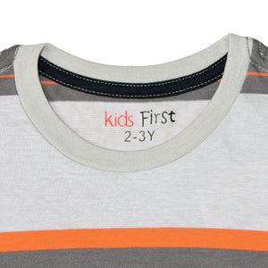 BOY'S S/S TEE-25BS-STK-ASRT01-Light Gray/Orange Stripe - Export Mall Online Store Sale