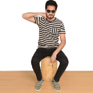 MEN'S S/S GRAPHIC TEE-NAVY/OATMEAL-EMFW20KM-1008 - Export Mall Online Store Sale