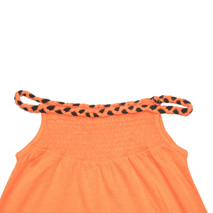 GIRL'S KNIT FROCK - ORANGE GKFR01 - Export Mall Online Store Sale