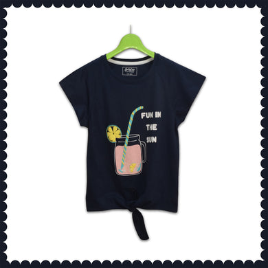 GIRL'S S/S GRAPHIC RAGLAN-BLUE COVE-EMSS21KG-2236 - Export Mall Online Store Sale