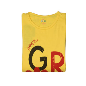 GIRL'S L/S PRINTED TEE-Yellow Print -H-16 - Export Mall Online Store Sale