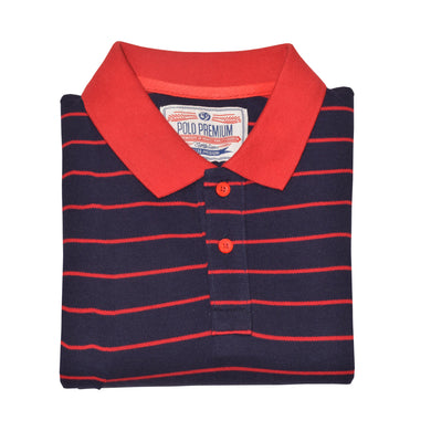 MEN'S S/S NAVY RED EMB POLO-3722 - Export Mall Online Store Sale