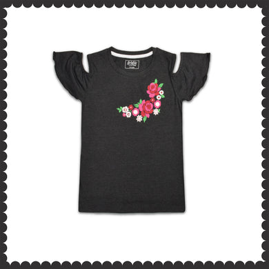 GIRL'S S/S GRAPHIC TEE-CHARCOAL-EMSS21KG-2229 - Export Mall Online Store Sale
