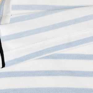 MEN'S S/S WHITE SKY BLUE STRIPE POLO-3729 -16 - Export Mall Online Store Sale