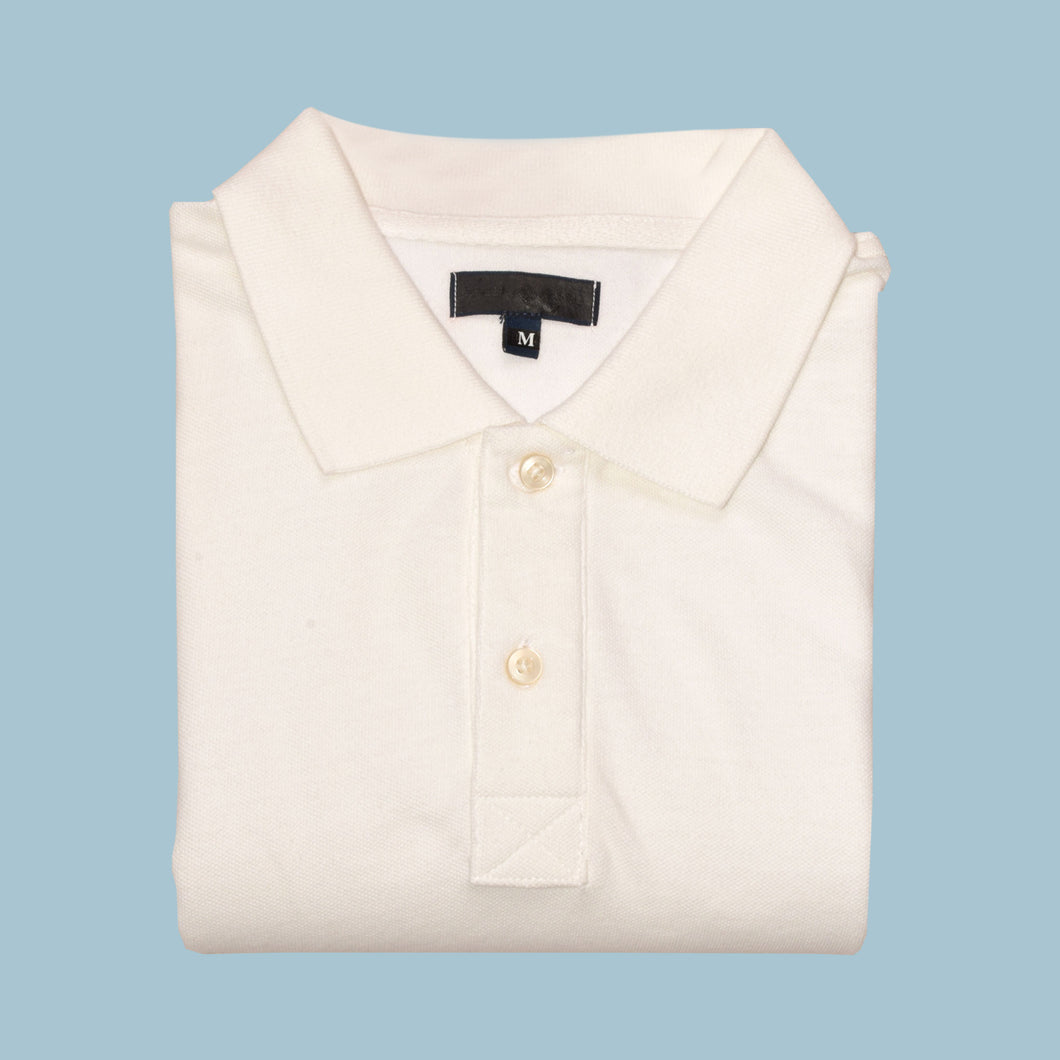 MEN'S S/S SOLID WHITE POLO - 3720|3724 - Export Mall Online Store Sale