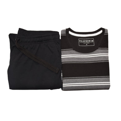 MEN'S S/S TEE & TROUSER SET -CHARCOAL / BLACK-EMFW20KM-1074 - Export Mall Online Store Sale