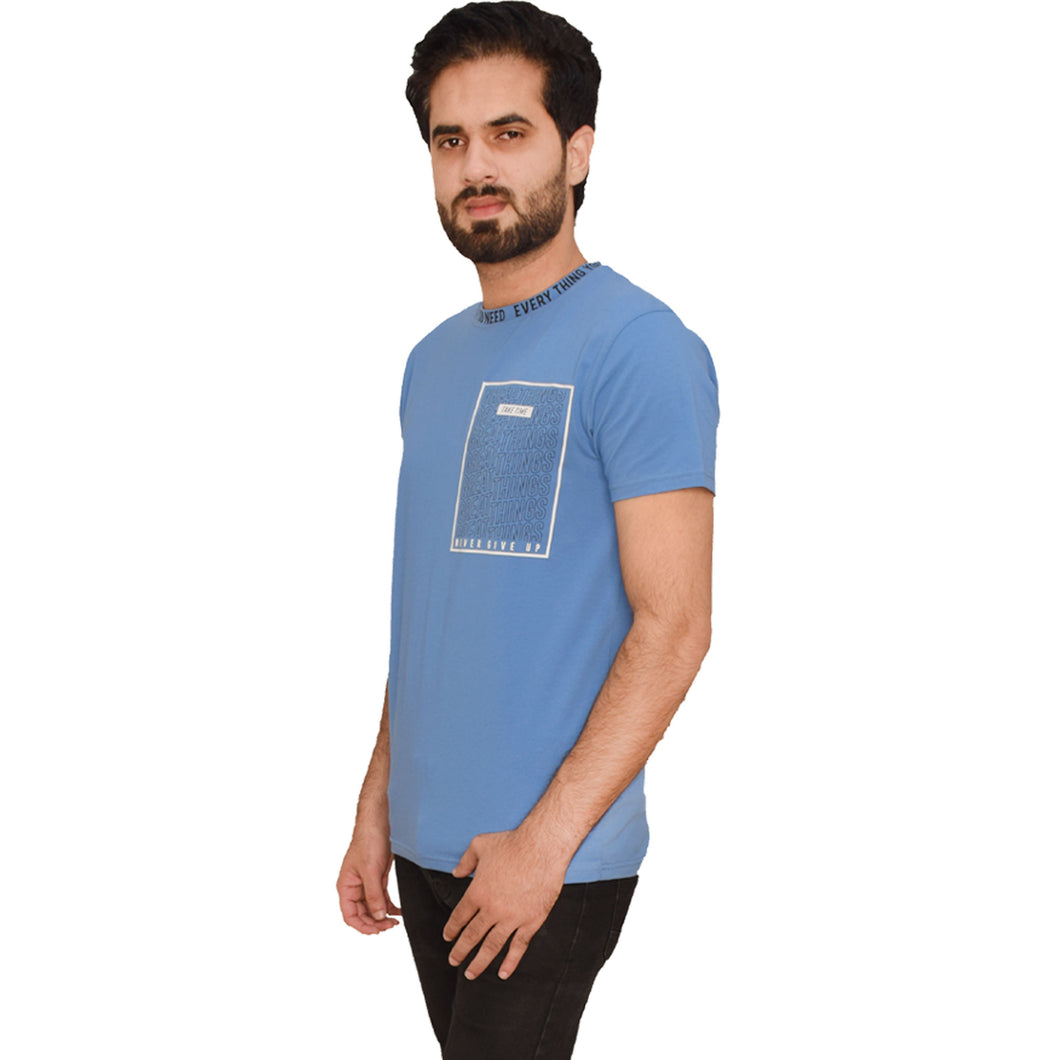MEN'S S/S GRAPHIC TEE-AZURE BLUE-EMFW20KM-1012 - Export Mall Online Store Sale