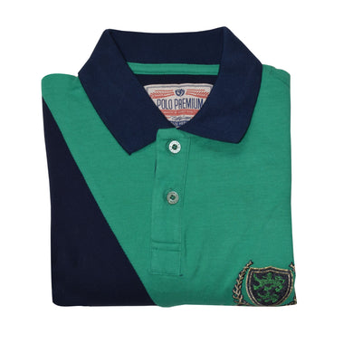 MEN'S S/S GREEN NAVY POLO-3717 - Export Mall Online Store Sale