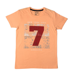 BOY'S SET (S/S GRAPHIC TEE & SHORT)-Peach/Black-SSSS20KB-1173 - Export Mall Online Store Sale