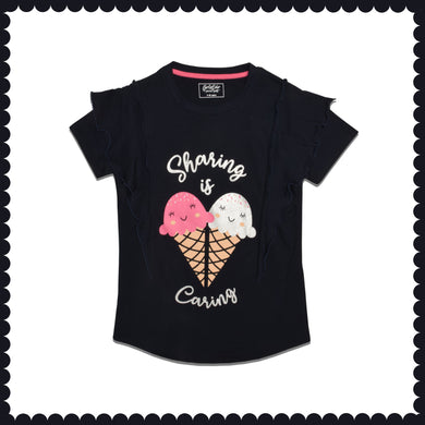 GIRL'S S/S GRAPHIC TEE-NAVY-EMSS21KG-2235 - Export Mall Online Store Sale