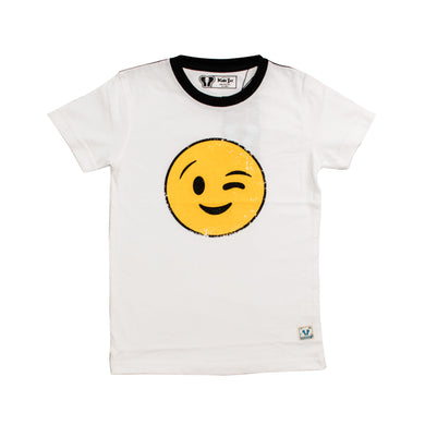 BOYS' S/S TEE - WHITE YELLOW /SMILE PRINT - Export Mall Online Store Sale