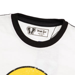 BOYS' S/S TEE - WHITE YELOW /SMILE PRINT - Export Mall Online Store Sale