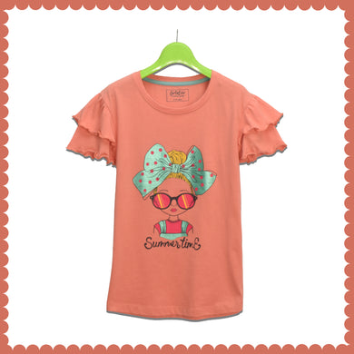 GIRL'S S/S GRAPHIC TEE-TERRA COTTA-EMSS21KG-2231 - Export Mall Online Store Sale